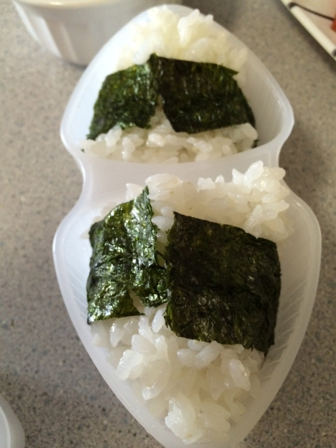 Wrap nori around remainig rice and….