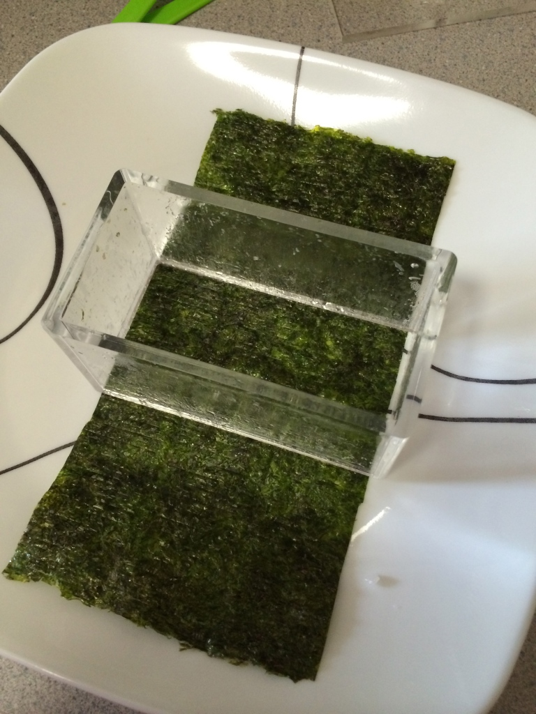 Place mold on top of pre-cut nori
