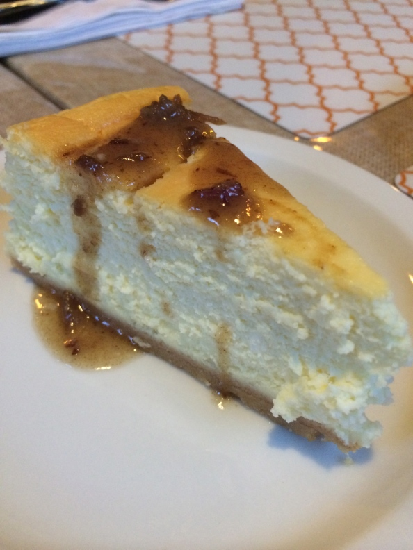 Orange Blossom Cheesecake with date sauce