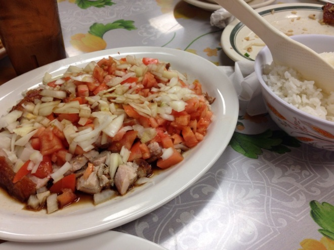 Thelma's Special (Chopped Lechon Kawali with Tomato,Onion and Soy Sauce $  9.95)