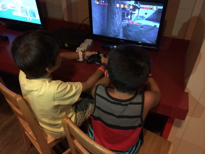 Boys playing video games….