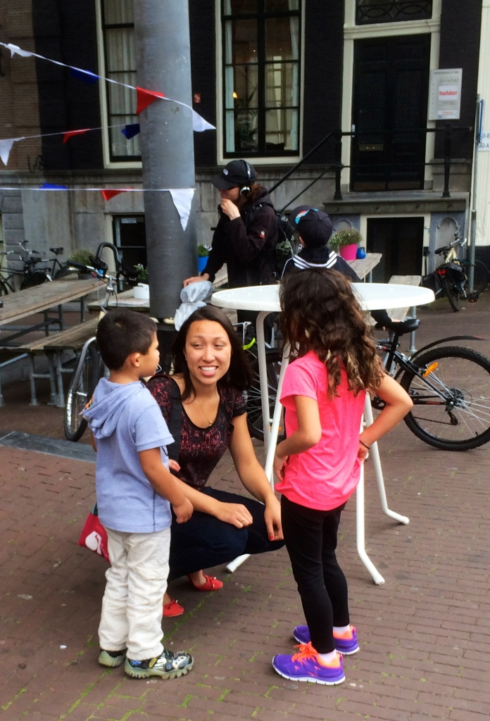 Here we are with Esther our guide from Hungry Birds. She's explaining to the kids about Herring.
