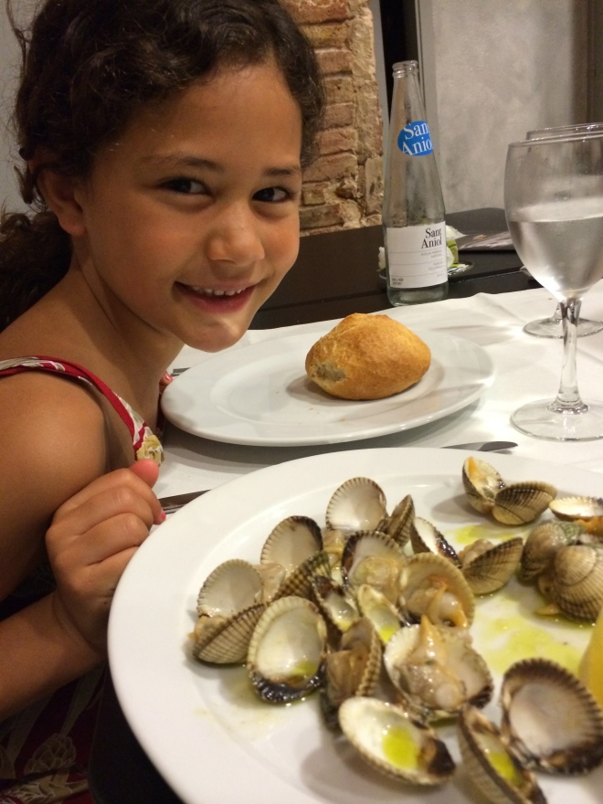 They both loved these clams.  Which were only sautéed in olive oil and very little garlic.  Served with a lemon.