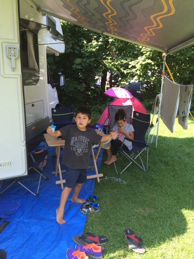 Our camping pitch at Duinrell Park