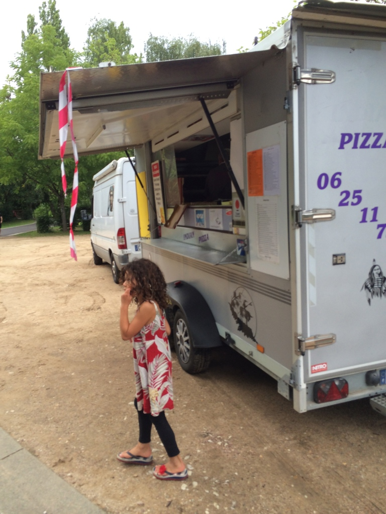 Kids were excited they had a pizza food truck at the campsite!