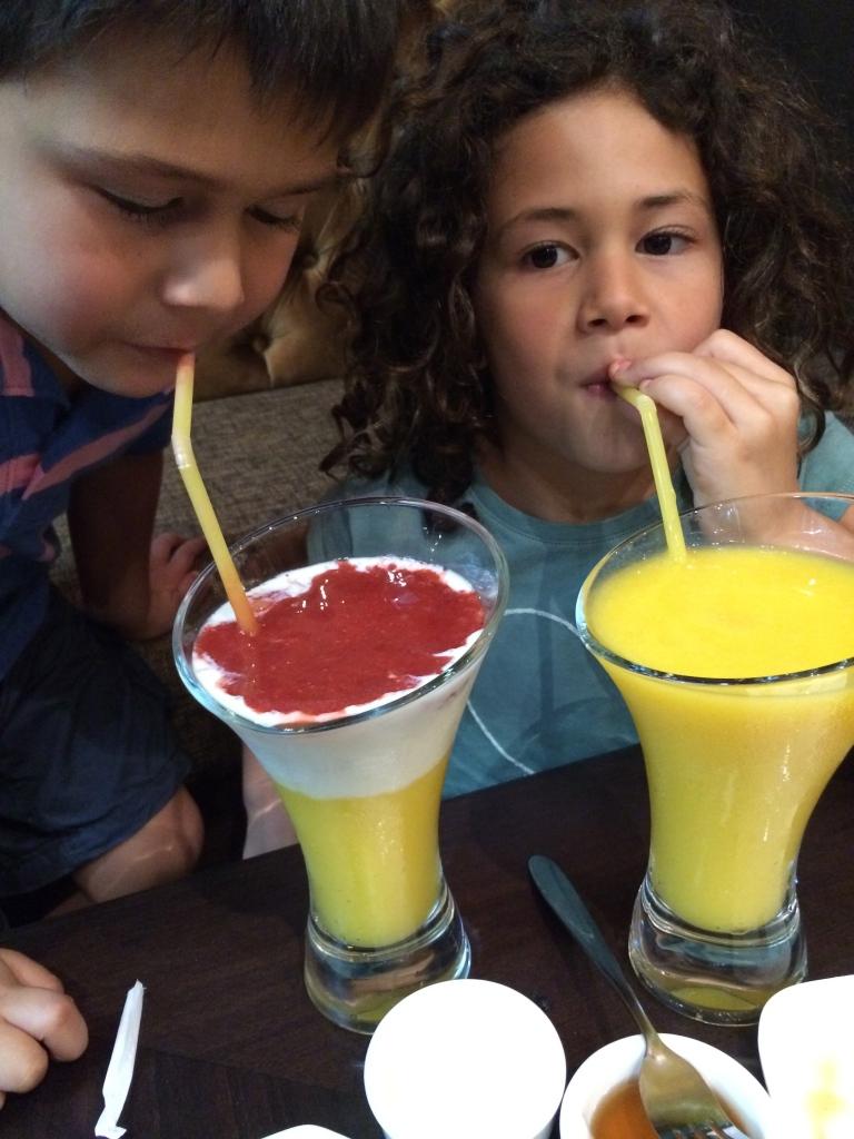 Fresh fruit cocktail and mango juice